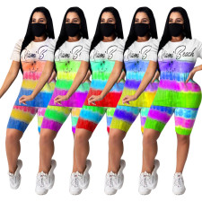 Tie Dye Print Casual Two Piece Shorts Set Without Mask CXM-8055