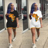 Casual Africa Map Print Two Piece Shorts Set MIL-107