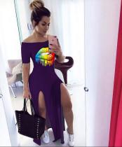 Plus Size Lips Print Slash Neck High Split Long Dress LQ-5830