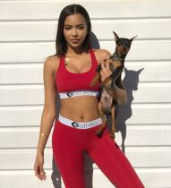 Sexy Tank Tops Long Pants Fitness Two Piece Sets OD-8375