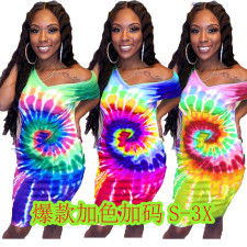 Plus Size Short Sleeve Tie Dye Print Dress BLI-2024