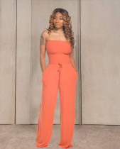 Solid Strapless Sleeveless Wide Lge Jumpsuits TR-1035