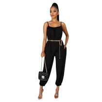 Sexy Solid Color Suspenders Jumpsuit TE-4028