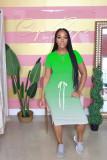 Casual Gradient Short Sleeve Split Midi Dress WY-6676