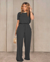 Solid Short Sleeve Wide Leg One Piece Jumpsuits TR-1033