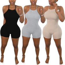 Plus Size Solid Backless Strap Skinny Playsuit FNN-8387