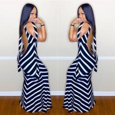Sexy Black White Stripe Backless Maxi Dress LSL-6348
