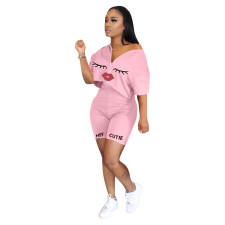 Plus Size Pink Lips Print Short Sleeve Two Piece Suits BLI-2033
