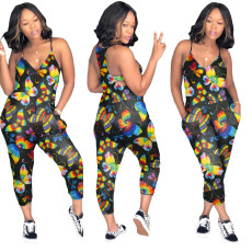 Fashion Butterfly Print Jumpsuit WAF-5212