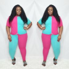 Plus Size 5XL Patchwork Fat MM 2 Piece Pants Set OSM2-4112