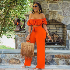 Solid Off Shoulder Sexy One Piece Jumpsuits YD-8214