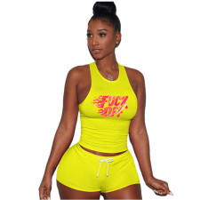Letter Print Tank Top Shorts Fitness Two Piece Sets GS-1817