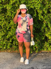Plus Size 5XL Tie Dye V Neck Fat MM Shorts Set With Mask OSM2-4115