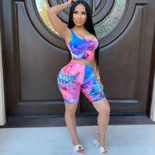 Tie Dye Print Sleeveless Two Piece Shorts Set TK-6087