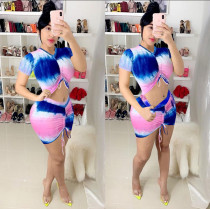 Tie Dye Print Ruched Two Piece Mini Skirt Sets MYP-8916