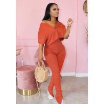 Plus Size Fashion Solid Color Top Folds Pants Two Piece Set MTY-6322