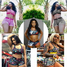 Sexy Printed Fitness Two Piece Shorts Set ORY-5119-1