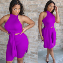 Solid Sleeveless Irregular Top And Shorts 2 Piece Sets YN-1008