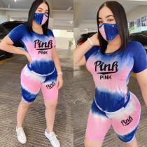 Pink Letter Print Tie Dye Gradient 2 Piece Shorts Set BLX-7511