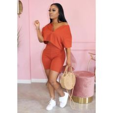 Plus Size Solid Casual Two Piece Shorts Set QY-5182