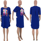 Plus Size Lips Print Short Sleeve Casual Loose Dress CQ-008
