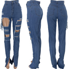 Plus Size Denim Ripped Hole Splt Long Jeans Pants CQ-010
