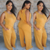 Solid Sleeveless Casual Loose One Piece Jumpsuits WZ-8266