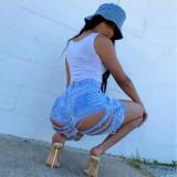 Sexy Denim Ripped Hole Tassel Jeans Shorts BN-9236