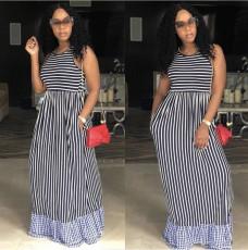 Casual Striped Sleeveless Maxi Dresses WZ-8267