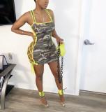Camo Print Sleeveless Lace Up Hollow Mini Dress WZ-8264