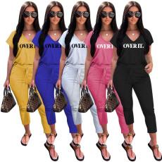 Letter Print V Neck T Shirt Ankle Lengtjh Pants Sets MEM-8280