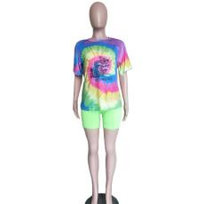 Tie Dye Print Casual Two Piece Shorts Set BN-9233