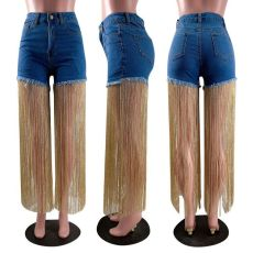 Trendy Denim Tassel Jeans Shorts MOF-8816