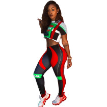Sports Fitness Tight Two-piece Pants Suit AIL-082-1