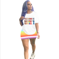 Plus Size Casual Printed T Shirt Shorts 2 Piece Sets BLI-2036