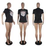 Casual Printed Short Sleeve O Neck T Shirt SHD-9256
