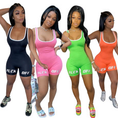 Plus Size Letter Print Activewear Rompers SHD-9255