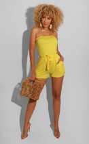 Solid Strapless Sexy Sashes One Piece Rompers BS-1192