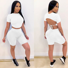 Copy Solid Backless Sexy Two Piece Shorts Set IV-8087
