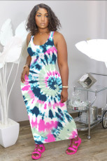 Casual Print Sleeveless Maxi Dress NIK-130