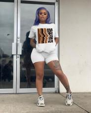 Plus Size Casual Printed T Shirt Shorts 2 Piece Sets LQ-5834