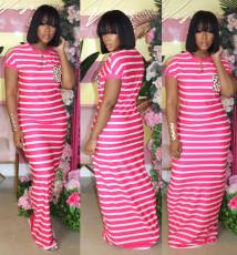 Casual Striped Short Sleeve Maxi Dress WAF-5229