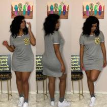 Leopard Pocket Short Sleeve Mini Dress YIM-8114