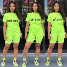 Letter Print T Shirt And Shorts Two Piece Suits KSN-5136