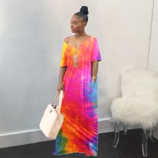 Plus Size Tie Dye Short Sleeve Loose Maxi Dress WAF-6055