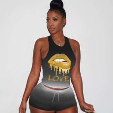 Plus Size Gradient Letter Sportswear 2 Piece Shorts Sets LQ-5835