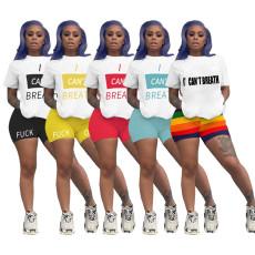 Plus Size Letter Print T Shirt Shorts Two Piece Suits YIM-8115
