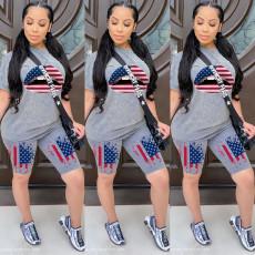 Plus Size America Flag Lips Two Piece Shorts Set LQ-5837