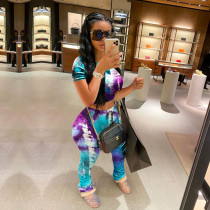 Tie Dye T Shirt Stacked Pants Two Piece Sets SH-3780