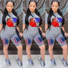 Plus Size America Flag Lips Two Piece Shorts Set LQ-5836